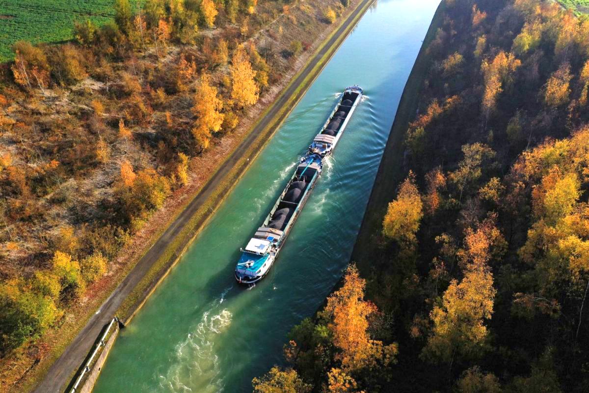 Rừng cây hai bên kênh đào chuyển sắc lá vàng tô điểm cho vẻ đẹp mùa thu tại Havrincourt, Pas-de-Calais, Pháp. Ảnh: Reuters.